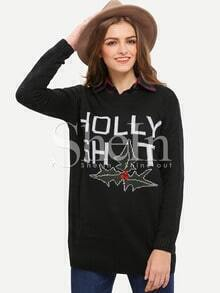 Black Round Neck Christmas Print Sweater