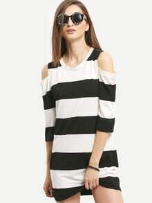Open Shoulder Wide Striped T-shirt Dress