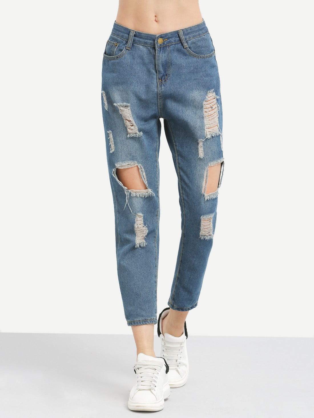 Distressed Boyfriend Ankle JeansDistressed Boyfriend Ankle Jeans<br><br>color: Blue<br>size: L,M,S,XL,XXL