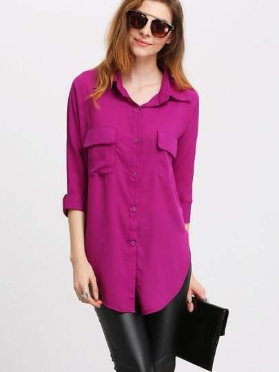 Purple Lapel Split Pockets Blouse