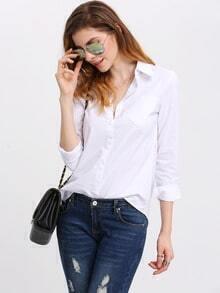 Lapel Long Sleeve Pocket Blouse