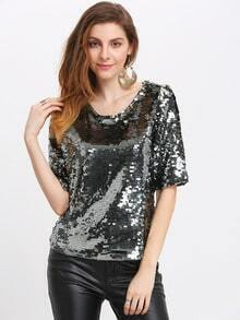 Sliver Round Neck Sequined Blouse