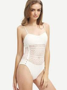Beige Spaghetti Strap Hollow One-Piece Swimwear
