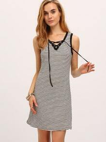 Black White Stripe Lace-up Shift Dress