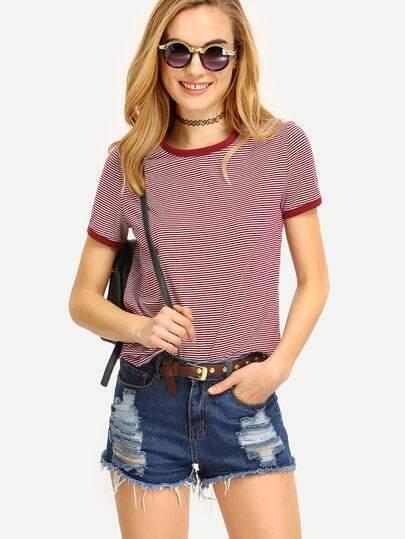 Camiseta manga corta escote redondo rayas -multicolor