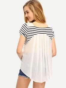 White Breton Stripe Contrast Dip Hem T-shirt