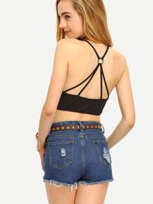 Black Backless Spaghetti Strap Crop Top