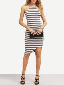 Breton Stripe Cutaway Asymmetric Hem Bodycon Dress