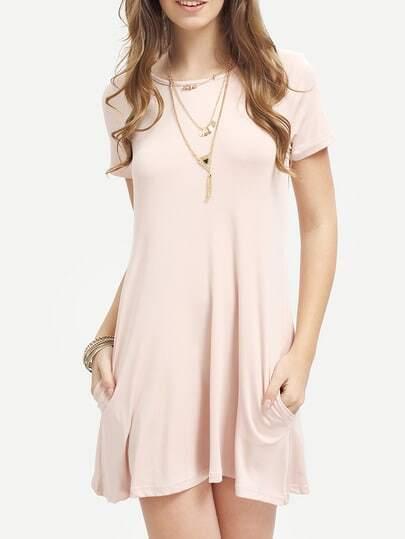 Pink Short Sleeve Pockets Loose Dress