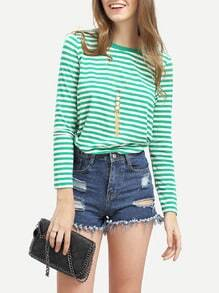 Green Crew Neck Striped T-Shirt