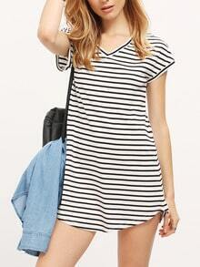 Black White Stripe V Neck Casual Dress