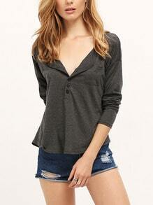 Deep V Neck Buttons Pocket T-shirt