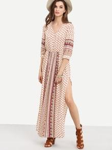Apricot Half Sleeve Vintage Print Split Maxi Dress