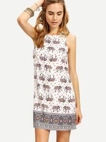 Multicolor Sleeveless Elephant Print Vintage Dress