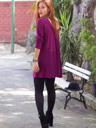 Purple Long Sleeve Shift Tee Dress