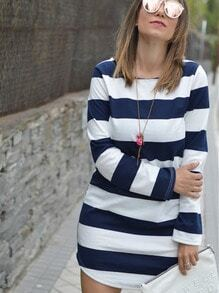 Navy White Crew Neck Striped Loose Dress