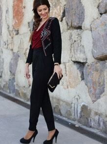 Black Long Sleeve Tribal Embroidered Coat