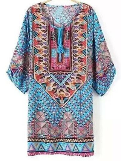 Colour Tie-neck Geometric Print Dress