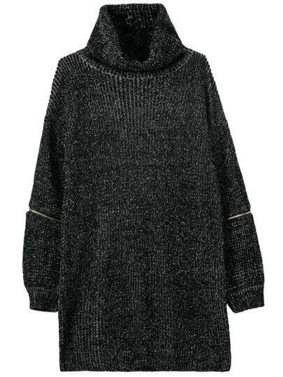 Black High Neck Zipper Loose Sweater