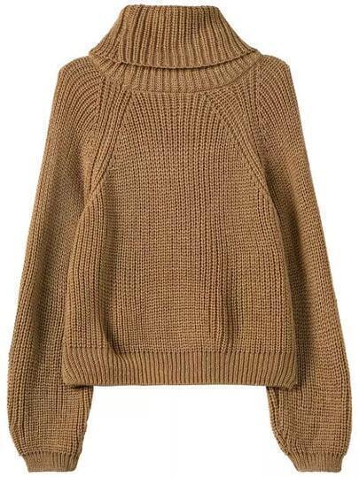 Khaki High Neck Hollow Crop Knit Sweater