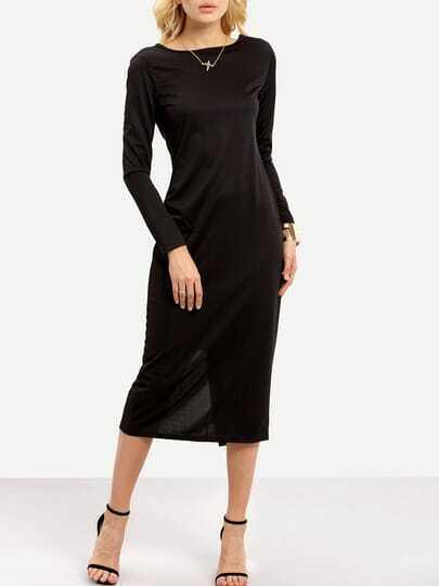 Black Long Sleeve Backless Zipper Slim Dress