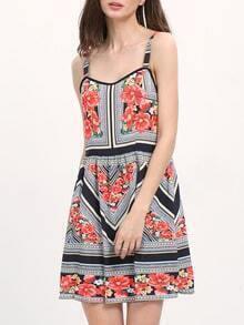 Multicolor Vintage Print Square Neck Strap Dress
