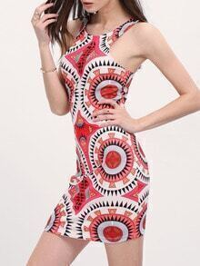 Aztec Print Sleeveless Backless Bodycon Dress