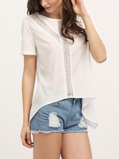 White Crochet Panel Short Sleeve T-shirt