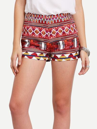 Multicolor Vintage Print Shorts