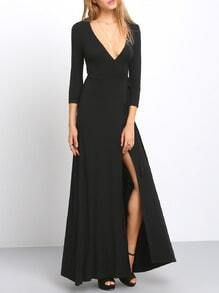 Black Cross V Neck Split Side Maxi Dress