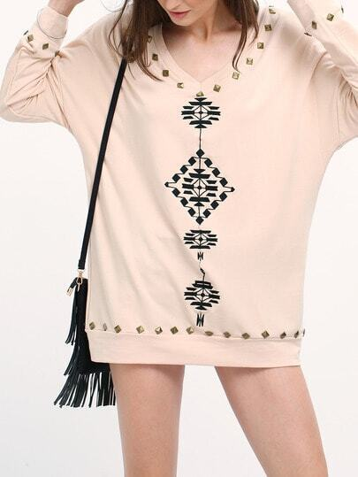 Pink Tribal Embroidered Loose Sweatshirt