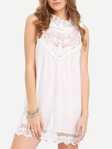 White Lace Crochet Mini Dress