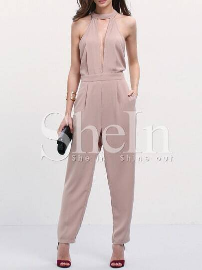 Light Coffee Mock Neck Cut Out Backless Jumpsuit