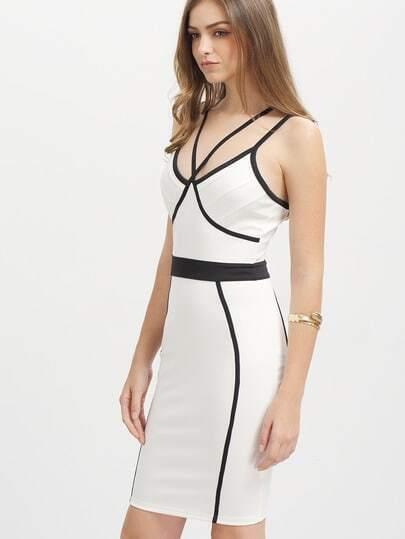 White Dual Spaghetti Strap Bodycon Bandage Dress