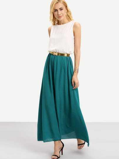 Color Block Floaty Chiffon Teal Maxi Dress With Belt -SheIn(Sheinside)