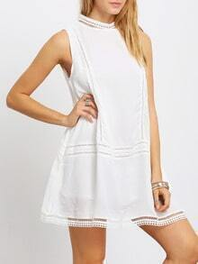 White Sleeveless Hollow Insert Keyhole Back Shift Dress