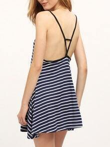 Navy Banded Spaghetti Strap Striped Backless Dress