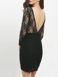 Black Sheer Mesh Lace Bodycon Dress