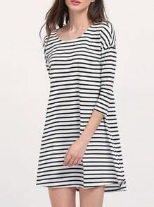 Breton Striped Round Neck T-shirt Dress