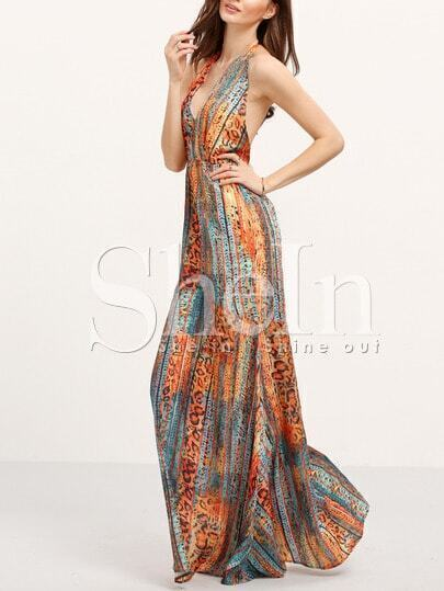 Halter Backless Tribal Print Maxi Dress
