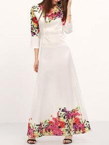 White Round Neck Florals Maxi Dress
