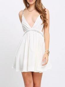 White Deep V Neck Metal Chain Backless Dress