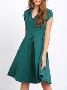 Green V Neck Short Sleeve Slim Dress