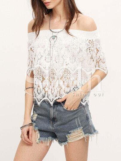 White Off The Shoulder Crochet Lace Blouse