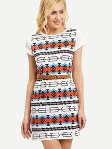 Multicolor Geometric Print Split Dress