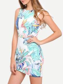 Multicolor Print Cut-out Wrap Front Bodycon Dress