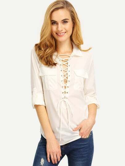 Plunge Lace Up Dual Pockets Curved Hem Blouse