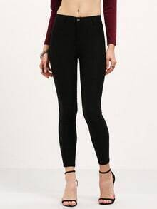 High Waist Slim Denim Black Pant