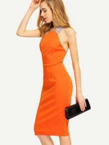 Orange Criss Cross Backless Zipper Pencil Dress