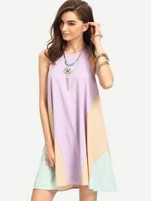 Purple Bib Neck Colorblock Flowy Dress